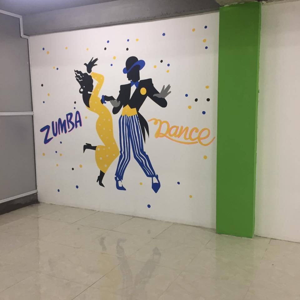 vẽ tranh trang trí phòng tập nhảy zumba dance