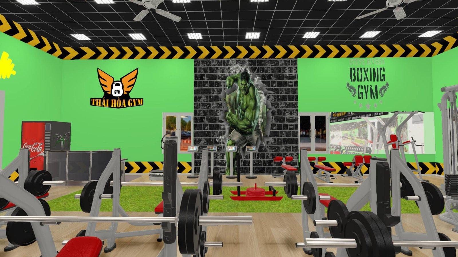 Ảnh 3D minh họa thiết kế phòng gym giá rẻ