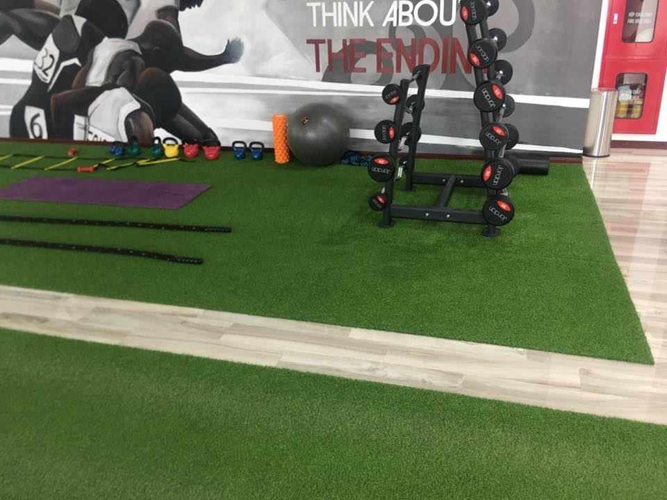 trải cỏ nhân tạo cho phòng gym