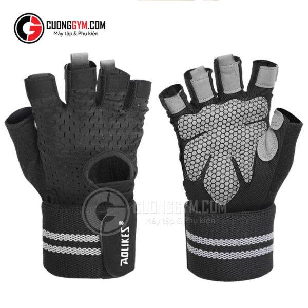 Găng tay vải lưới cao cấp có cuốn cổ tay (mã sản phẩm: CGA-106) bản màu đen